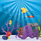 Coral, fish and octopus icon. Sea life design. Vector graphic Royalty Free Stock Photo