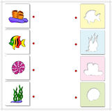 Coral, fish, seaweed, shell. Educational game for kids about sea Stock Photography