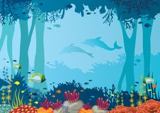 Coral, fish, underwater cave, dolphin and sea. Vector coral reef, school of fishes, underwater cave and silhouette of two dolphins on a blue sea. Nature Stock Photos