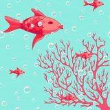 Coral and fishes colorful illustration Stock Photo