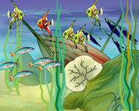 Coral Fishes Underwater Illustration. Coral Fishes Underwater.  Digital Painting Background, Illustration in cartoon style character Stock Images