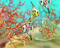 Coral Fishes Underwater Illustration. Coral Fishes Underwater.  Digital Painting Background, Illustration in cartoon style character Royalty Free Stock Photos