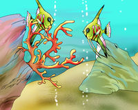Coral Fishes Underwater Illustration. Coral Fishes Underwater. Digital Painting, Illustration of a white stratus clouds under a blue sky Stock Photography
