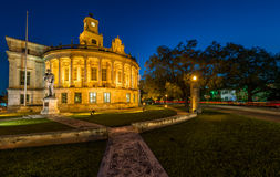 Coral Gables City Hall. Night view of the Coral Gables City Hall in Miracle Mile stock photos