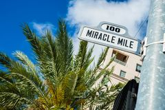 Coral Gables Cityscape. Cityscape sign view of the popular Miracle Mile in downtown Coral Gables, Florida stock photography