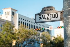 Coral Gables Cityscape. Cityscape sign view of the popular Miracle Mile in downtown Coral Gables, Florida stock image