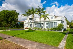 Coral Gables home. Coral Gables, Florida - November 6, 2017: Classic art deco architecture style home in the historic City of Coral Gables located in Miami Royalty Free Stock Photo