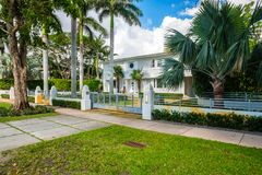 Coral Gables home. Coral Gables, Florida - November 6, 2017: Classic art deco architecture style home in the historic City of Coral Gables located in Miami Stock Photos