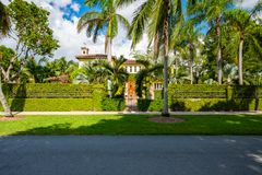 Coral Gables home. Coral Gables, Florida - November 6, 2017: Classic mediterranean architecture style home in the historic City of Coral Gables located in Miami stock image