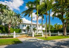 Coral Gables home. Coral Gables, Florida - November 6, 2017: Classic art deco architecture style home in the historic City of Coral Gables located in Miami Royalty Free Stock Image