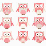 Coral and Grey Cute Owl Collections. Royalty Free Stock Image