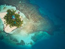 Coral island in Nicaragua. Caribbean sea aerial drone view stock photo