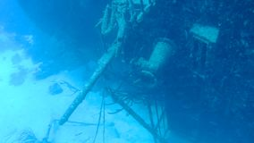 Ship wreck Hilma Bonaire island caribbean sea underwater 1080P video stock footage
