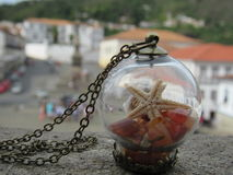 Coral necklace in the center of Ouro Preto stock photos