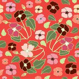 Coral, Pink and Deep Red Floral Repeat Print Pattern  in Vector stock illustration