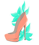 Coral Pink High-Heeled Shoes With Mint Flowers Stock Photos