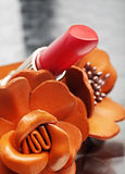 Coral pink lipstick close-up Stock Image
