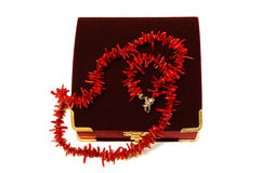 Coral red beads (necklace) and crimson velvet box. Stock Photos