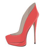 Coral Red High-Heeled Shoes Stock Images