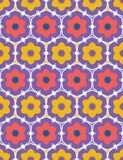 Coral red yellow daisy flower shapes. Vector pattern seamless damask background. Hand drawn floral geometric illustration. Trendy. Retro home decor, 1970s style stock illustration