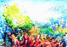 Coral reef. Underwater landscape with coral reef watercolor painted Royalty Free Stock Images