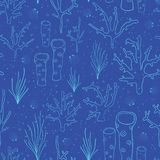 Coral reef Blue seamless vector background. Underwater pattern with corals, sea plants, seaweed, sponge, clams, shells. Hand drawn. Subtle marine doodle vector illustration