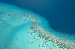 Coral reef at Borabora. Aerial WS over coral reef at Borabora in French Polynesia Stock Photo