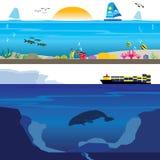 Coral Reef colorée et paysage sous-marin profond illustration libre de droits