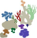 Coral reef. Colorful silhouettes Royalty Free Stock Photo