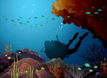Coral reef and diver. Colored coral reef with silhouette of diver in a blue sea Royalty Free Stock Photo
