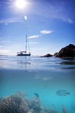 Coral Reef fish boat sun water and sky royalty free stock photography
