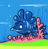Coral reef fish masking cartoon illustration Stock Photography
