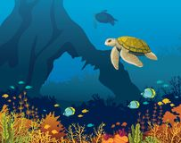 Coral reef, fish, underwater arch, turtle. Yellow turtle and coral reef with fishes and underwater arch on a blue sea. Underwater marine life. Vector Stock Photos