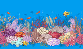 Coral Reef and Fishes Pattern stock illustration