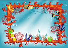 Coral reef frame border with colorful fishes. Illustration for the children Royalty Free Stock Photography