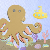 Coral reef with giant octopus and submarin Royalty Free Stock Photography