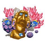Coral reef and Golden statue of the deity Maya Royalty Free Stock Images