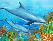 The coral reef - illustration for the children Stock Photos