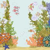 Coral reef illustration with sea anemones Stock Photos