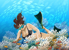 Coral reef. Illustration with  young girl in flippers floating over coral reef against  blue sea background Stock Photos