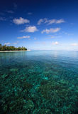 Coral reef and island. Corolful coral reef near tropical island Royalty Free Stock Images