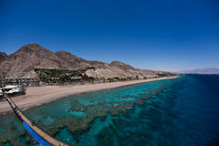 Coral reef. Panoramic view from the high floor of underwater observatory Stock Images