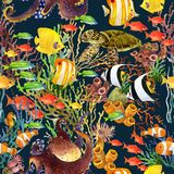 Coral reef seamless pattern. underwater world background. Cartoon sea fish watercolor illustration Stock Photography