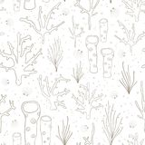 Coral reef seamless vector background. Underwater pattern with corals, sea plants, seaweed, sponge, clams, shells. Hand drawn. Subtle marine doodle backdrop vector illustration
