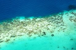 Coral Reef seen from above. Aerial view of coral reef in Bohey dulang island, Tun Sakaran National park stock photography