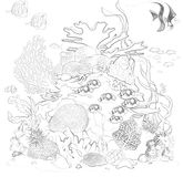 Coral reef coloring pages Royalty Free Stock Photos