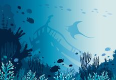 Coral reef, sunken ship, manta and underwater sea. Beautiful coral reef with school of fishes, sunken ship and silhouette of manta on a blue sea background Stock Photos