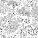 Coral Reef and Swimming Fishes Pattern Royalty Free Stock Photography