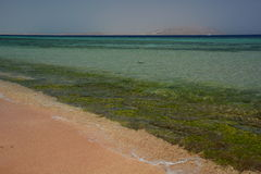 Coral reef and Tiran island. Sharm El Sheikh. Red Sea. Egypt Royalty Free Stock Images