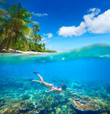 Coral reef in tropical sea on a background of green island Stock Image